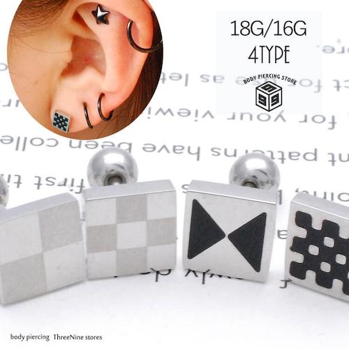 ボディピアス 16G 18G シンプル スクエア 耳たぶ 軟骨ピアス TPB054