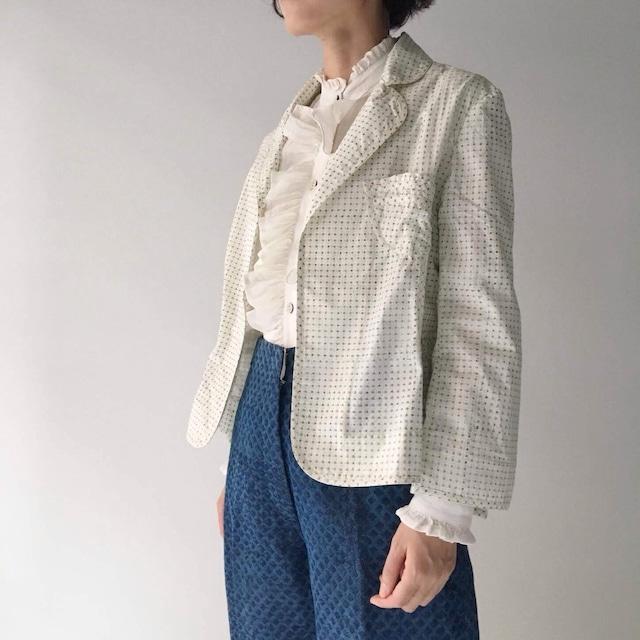 "Waist shape jacket ""block print geometric"" organic cotton"