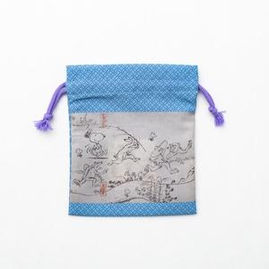 スヌーピー 巾着青 鳥獣戯画