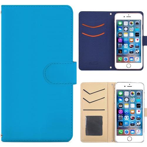 Jenny Desse ZenFone 3 ZE552KL ケース 手帳型 カバー スタンド機能 カードホルダー ブルー(ホワイトバック)