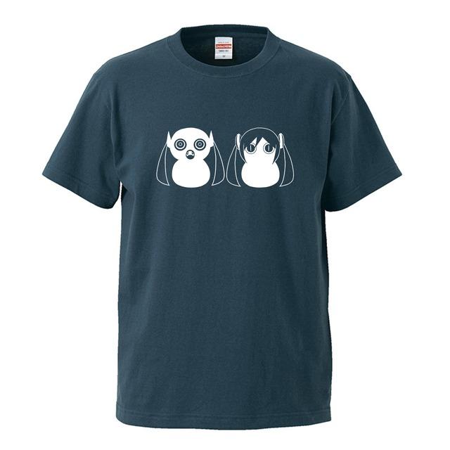 【受注生産再販】ピノキオピー - 八八 -パチパチ-  Tシャツ(スレート)+ステッカーセット - メイン画像