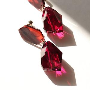 EARRINGS    【通常商品】 MARBLE & STONE EARRINGS (RUBY)    1 EARRINGS    RED    FBA053