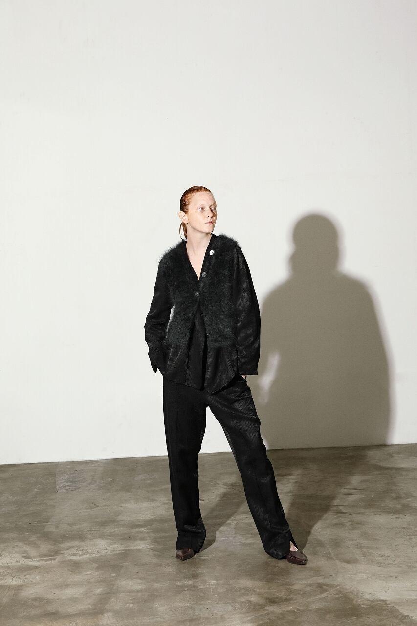 厚手綿キュプラ素材のジャガード織パンツ LOGWOOD-BLACK(ログウッド染め)