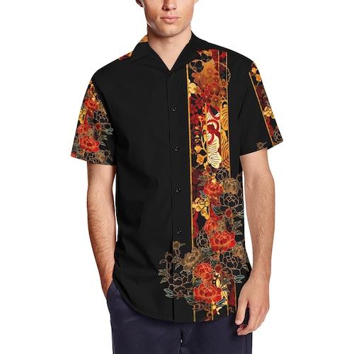牡丹家紋ストライプ 和柄アロハシャツ