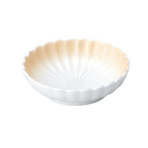 菊型丸皿(11.5cm) 可愛いカタチの小皿 ぼかしオレンジ【2054-2740】