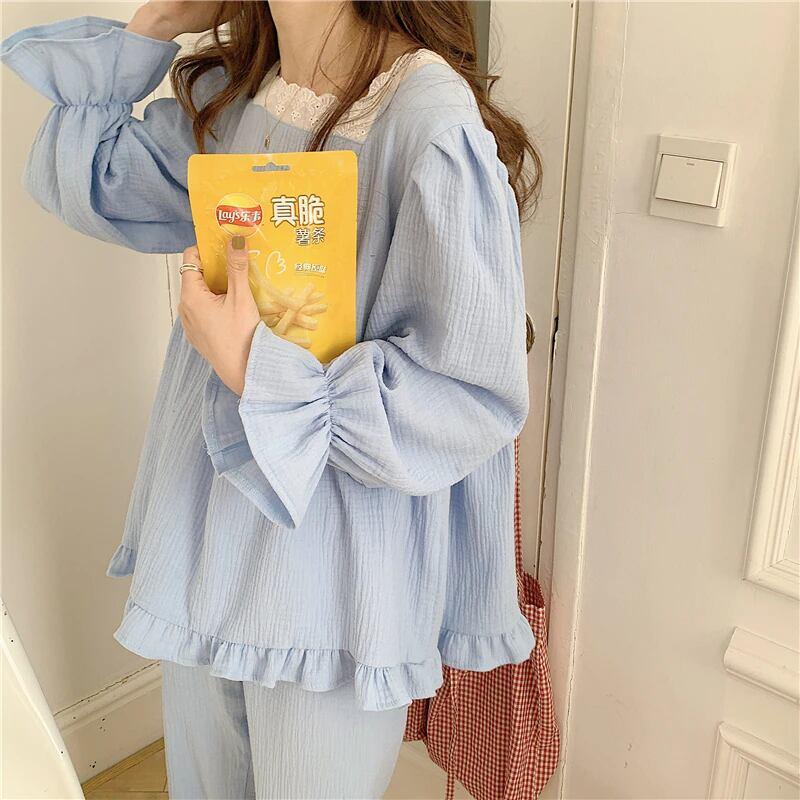 Frill Long Sleeve Pajamas(blue)