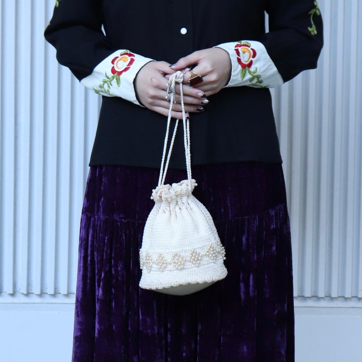 50年代 USA製 パールビーズ 巾着 ヴィンテージバック ポーチ