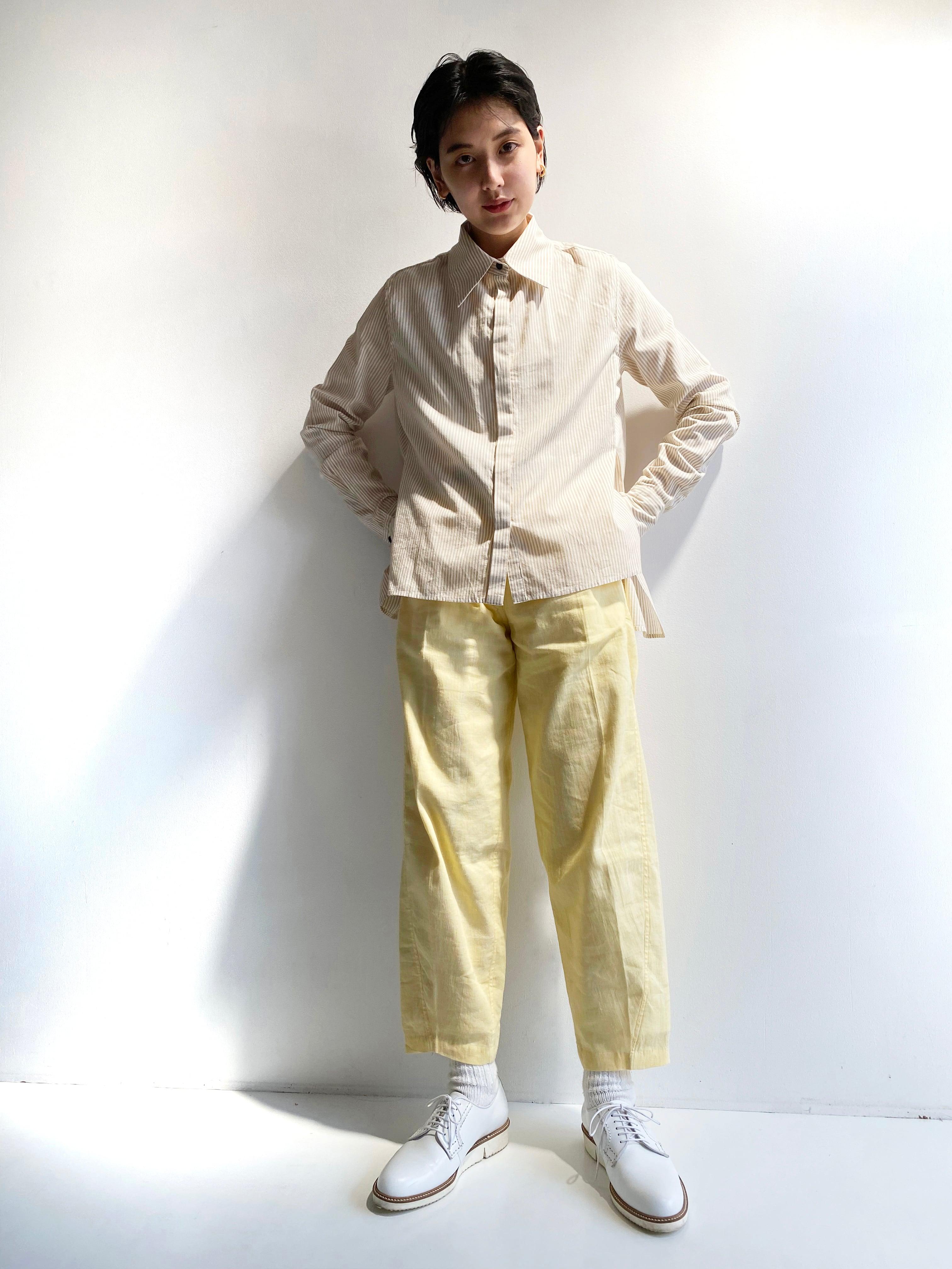 """Side slit blouse """"beige stripe"""""""