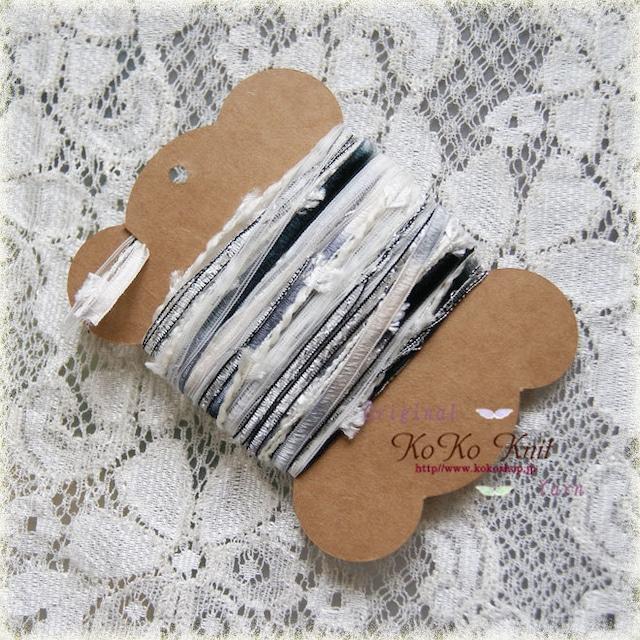 受注制作 §koko§ 引き揃え糸カード ~白鳥の湖~ブラックスワン~ オリジナル糸、リボン、ラッピング レース タッセル