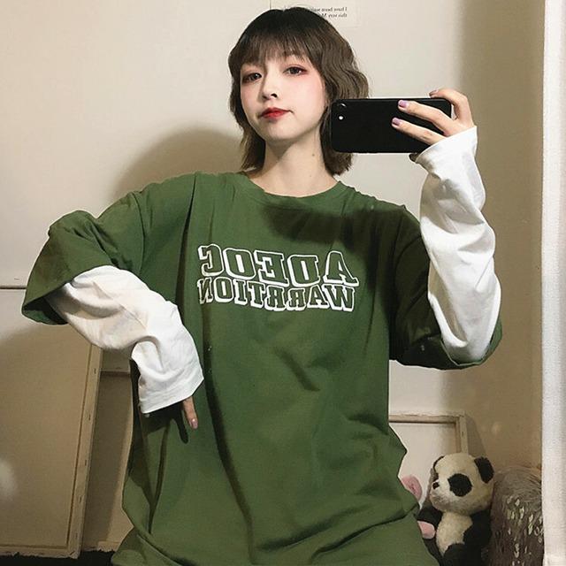 【トップス】ストリート系長袖切り替えアルファベットプルオーバーTシャツ42913366