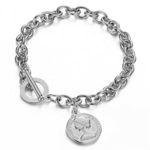 316L Coin Pendant Bracelet 【SILVER】