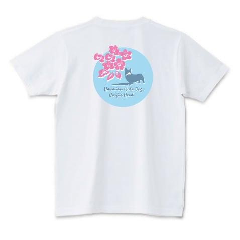 No.0015  ハイビスカスとコーギーTシャツ バージョン2