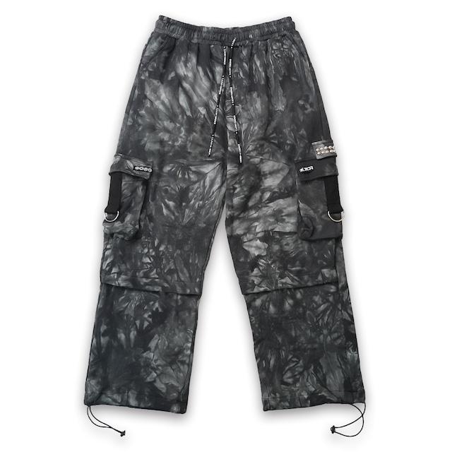 T.C.R TIE DYE CARGO SWEAT PANTS - BLACK / GRAY