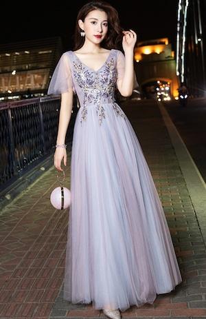 ブルーグレーロングドレス メッシュ パーティードレス TM0211