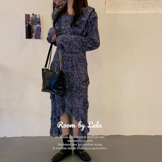 【即納】Ruffle stitch irregular dress / ワンピース / LE202190