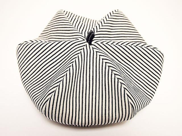 """リバーシブル ベレー帽 54㎝ """"REVERSIBLE BERET"""" (WHITE HICKORY×BLUE HICKORY 54)"""