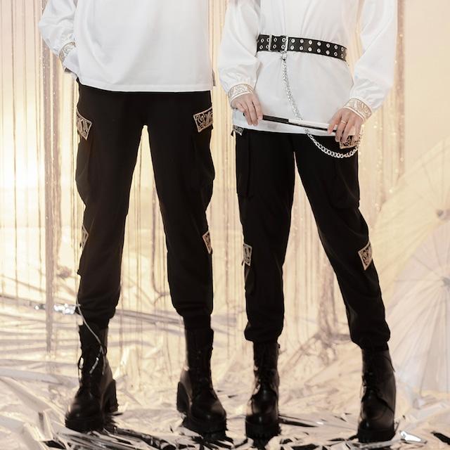 【卿棠シリーズ】★カジュアルパンツ★ ズボン ボトムス 刺繍 着痩せ 大きいサイズ オリジナル ブラック 黒い
