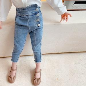 キッズ パンツ デニムパンツ ジーンズ ロングパンツ 女の子 ガールズ 子ども服 子供服 ボトムズ2401