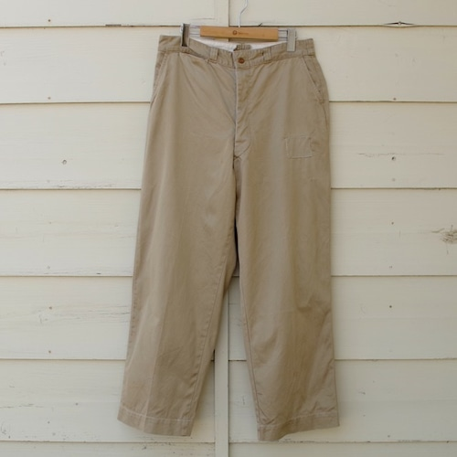 1950s US ARMY Cotton Khaki Trousers / 50年代 米軍 チノパン / ボタンフライ 軍チノ