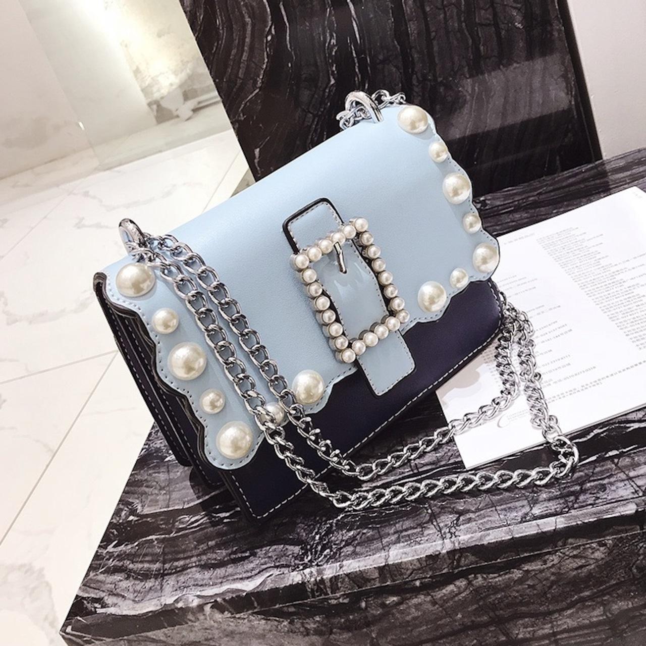 【即納】many pearl chain bag
