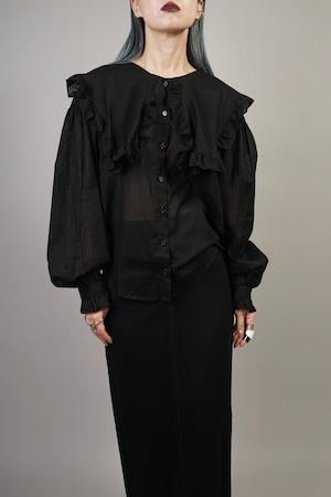 RUFFLE COLLAR SHIRT (BLACK) 2107-43-26