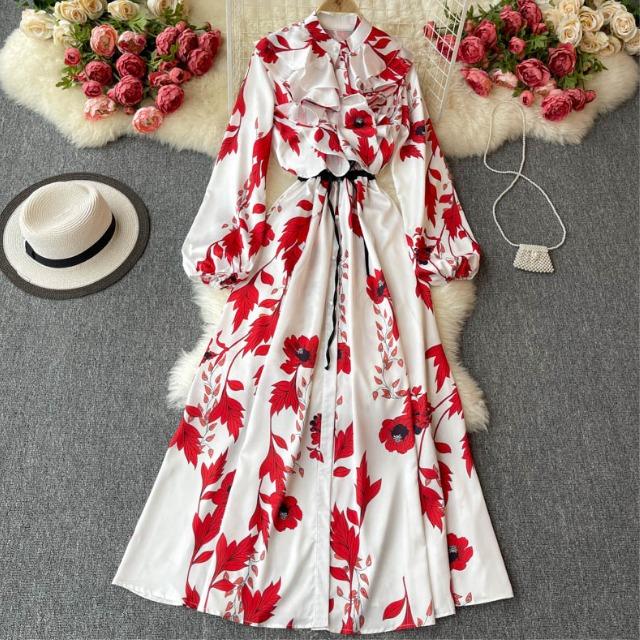 フラワー フリル ロング ドレス【R0998】