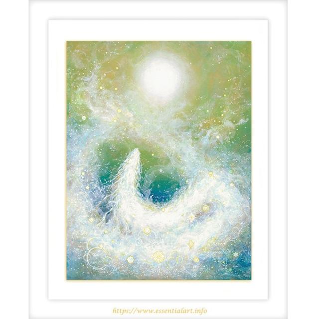 ☆定額制☆『月光浴』~アクリル画 原画作品~ 龍神の絵 月光浴する白く輝く龍神