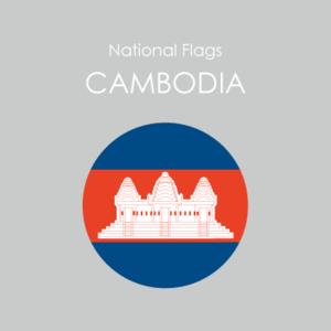 円形国旗ステッカー「カンボジア」