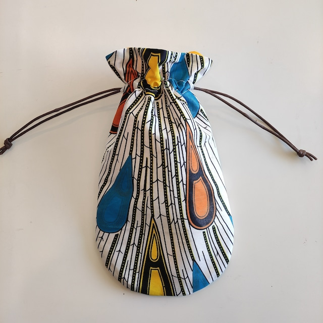 アフリカンファブリック お財布袋 peacock 巾着 アフリカンプリント
