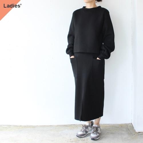 Siora  Cardboard knit setup / Puff sleeve pullover & Midi skirt (ブラック)