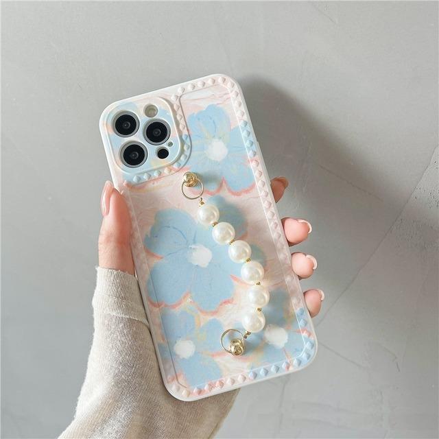 フラワーパターンパールチェーンiPhoneケース S4548