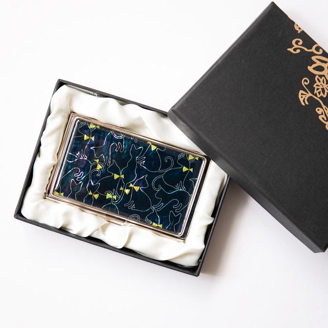 天然貝 名刺カードケース(キュートキャット・ネイビー)シェル・螺鈿アート
