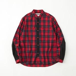 FLANNEL CHECK CONTRASTED SHIRT- RED