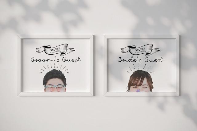 【送料無料】お二人のお写真で作るユニーク受付サイン│Bride&Groomサイン【ひょっこり】