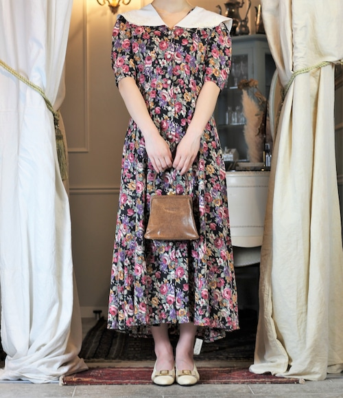 USA VINTAGE FLOWER PATTERNED HALF SLEEVE ONE PIECE/アメリカ古着花柄半袖ワンピース