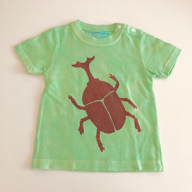kidsTシャツ90cm「かぶとむし シンプル黄緑」90-21609