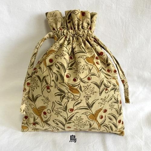 草木染ウッドブロックプリントのきんちゃく袋(鳥)【フェアトレード】