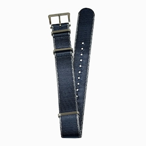 DELUXE NYLON NATO TYPE WATCH STRAP /  Navy color with Gray trim lines