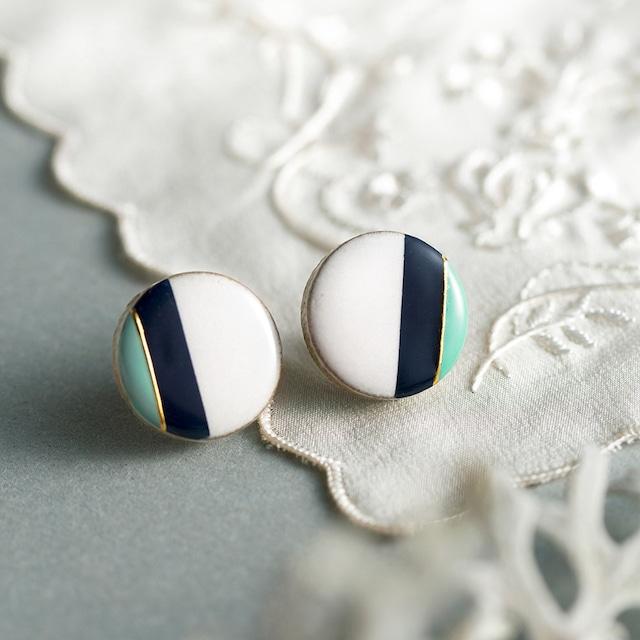 クラシックライン 藍色×ミント  陶器 ピアス イヤリング 美濃焼