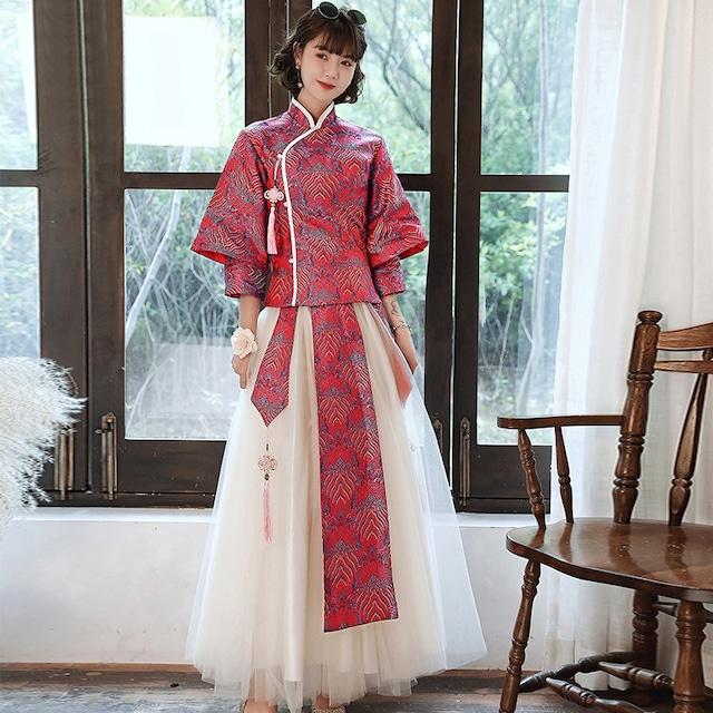 【啼染シリーズ】★パーティードレス★ チャイナ風トップス+ロングスカート 6color S M L LL 3L 4L 赤