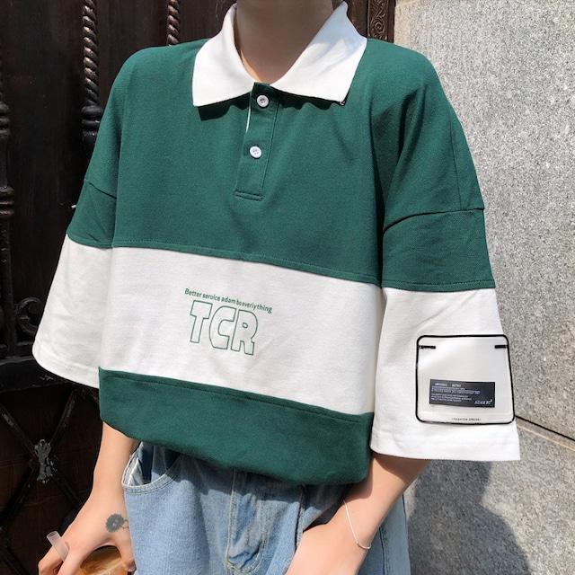 オーバーサイズバイカラーポロシャツ M-XL