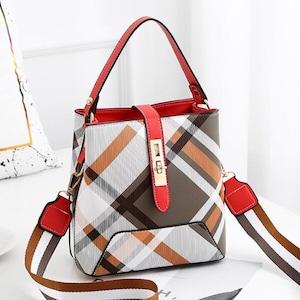 チェック柄バケットバッグ ハンドバッグ 大容量カジュアルショルダーバッグPU財布 Red lingge
