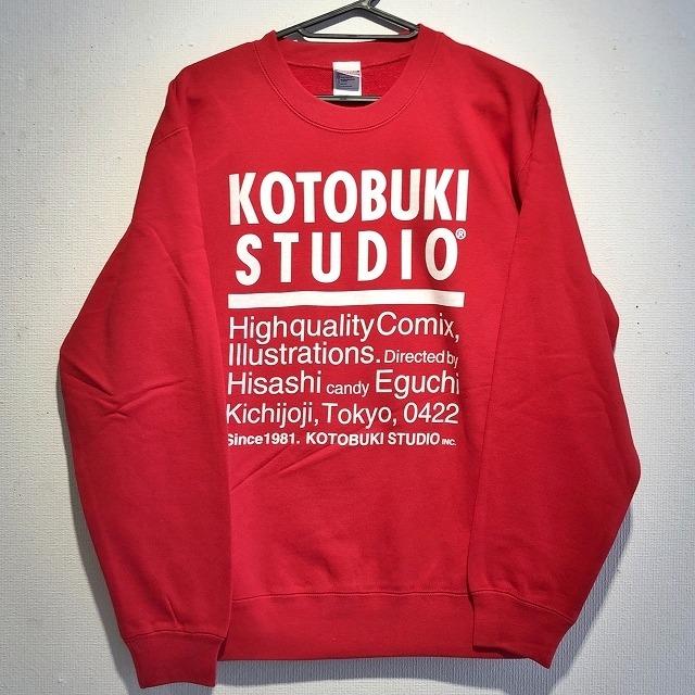 江口寿史 「KOTOBUKI STUDIO」トレーナー(レッド)クリアファイル付き( ※色は選べません)