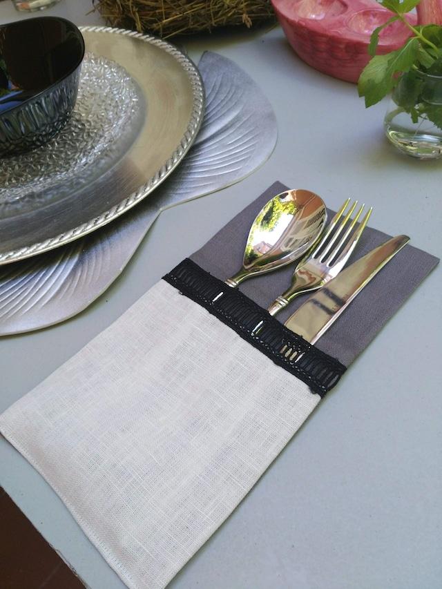 Curtlery Pocket Natural Gray 6pieces カトラリーポケットナチュラルグレー 6点セット