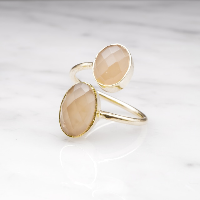 DOUBLE BIG STONE OPEN RING 001
