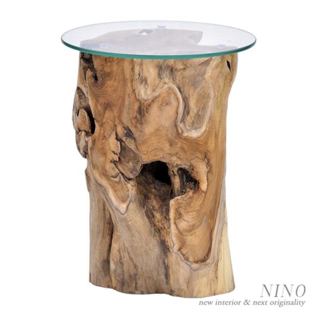 ウッド+ガラスサイドテーブル