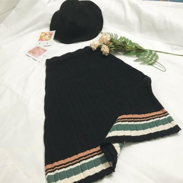 《短期配送》カラフルラインスカート*SK2019042o《BLACKのみ》