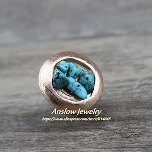 パンクロックスタイル小さな天然石ビッグヴィンテージリングLOW0034AR