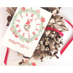 クリスマスカード ねこ時計
