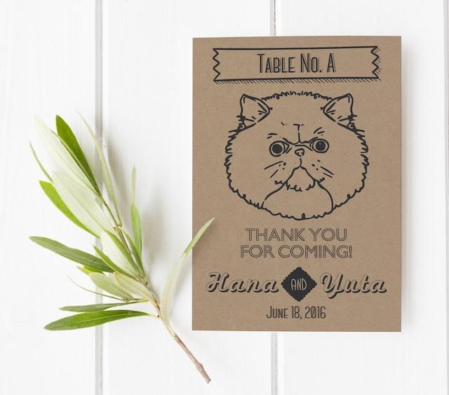 アメリカンヴィンテージ風♡4種類のにゃんこ(猫)のテーブルナンバー│ペット  結婚式 ウェディング